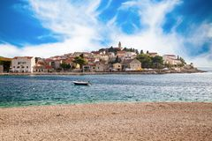 Beautiful view of Primosten Old town royalty free stock image