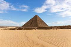 Beautiful view on the Pyramid of Menkaure in the desert of Giza stock photo