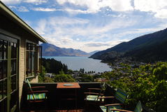 Beautiful View of Queenstown& x27;s Town, Lake and Mountains Stock Image