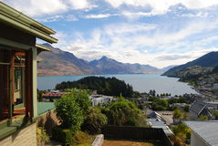 Beautiful View of Queenstown& x27;s Town, Lake and Mountains Stock Images