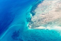 Palau islands from above. Beautiful view of Quirimbas archipilago in Mozambique from above Royalty Free Stock Photography