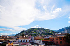 Beautiful view of Quito mixing new architecture with charming streets, with a panecillo turist place in the mountain in. Front, in the city of Quito Stock Photo