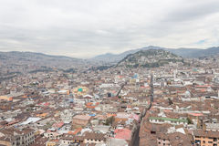 Beautiful view of Quito mixing new architecture with charming streets, with a panecillo turist place in the mountain in. Front, in the city of Quito Stock Images
