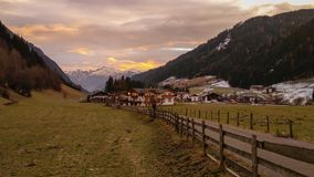 Beautiful view of Racines mountain village at sunrise in Italy stock image