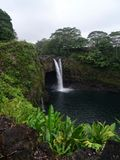 Rainbow waterfall near Hilo, Big Island - Hawaii stock images