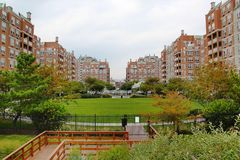 Beautiful view of red buildings and green park on Brighton Beach. Brooklyn. New York. stock photo