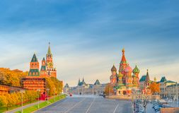 Beautiful view of the Red Square with Moscow Kremlin and St Basil& x27;s on a bright autumn morning, the most visited landmark in. Moscow. Russia stock photo