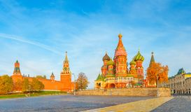 Beautiful view of the Red Square with Moscow Kremlin and St Basil& x27;s on a bright autumn morning, the most visited landmark in. Moscow. Russia stock images