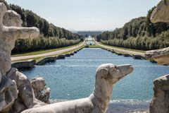 Beautiful view of Reggia di Caserta Italy, with marble dog sta Stock Photo