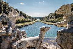 Beautiful view of Reggia di Caserta Italy, with marble statue Stock Photography