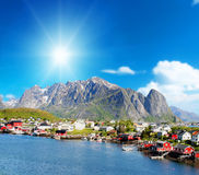 beautiful view of Reine town in Lofoten Islands, Norway Stock Photography