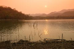 Beautiful View Reservoir In the evening. And Sunset stock photography