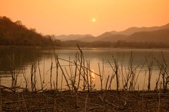 Beautiful View Reservoir In the evening. And Sunset royalty free stock image