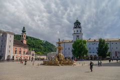 Beautiful view of Residenzplatz with famous DomQuartier Salzburg stock images
