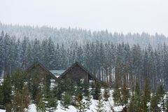 Beautiful view of resort with cozy cottages on snowy day. Winter vacation stock photography