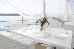 Beautiful view from the restaurant in the open air. Restaurant in the open air Stock Photography