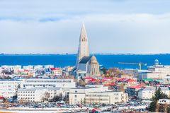 Beautiful view of  Reykjavik winter in Iceland winter season. Beautiful view of Reykjavik, the capital city of Iceland, in the winter focused on Hallgrimskirkja Stock Photo