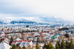 Beautiful view of  Reykjavik winter in Iceland winter season. With snow-capped mountain in the background, Reykjavík is the capital city of Iceland Stock Photos