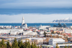 Beautiful view of  Reykjavik winter in Iceland winter season. With snow-capped mountain in the background, Reykjavík is the capital city of Iceland Royalty Free Stock Photography