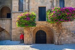 Beautiful Old Town of Rhodes, Dodecanese, Greece. Beautiful view on Rhodes island with amazing architecture royalty free stock photography