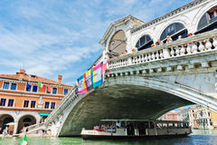 Beautiful view of Rialto's Bridge and the Canal Grande in Venice Stock Images
