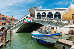 Beautiful view of Rialto's Bridge and the Canal Grande in Venice Royalty Free Stock Images