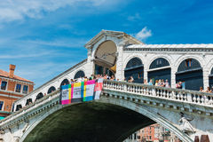 Beautiful view of Rialto's Bridge and the Canal Grande in Venice Stock Photos