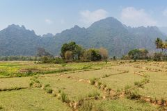 Scenic landscape in Vang Vieng, Laos royalty free stock images