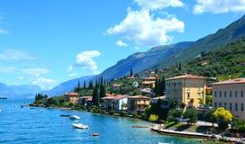 Beautiful view of Riva del Garda, of the embankment, cafes and restaurants. Lake Garda, region Lombardia, Italy stock image
