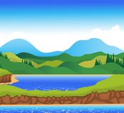 Beautiful view of river cartoon with mountain landscape background Royalty Free Stock Image