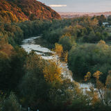 Beautiful view of the river from a height. autumn Royalty Free Stock Photography