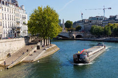 Beautiful view of the river Seine and apartment house on bank of river in Paris Royalty Free Stock Photography