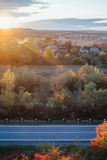 Beautiful view of the road from a height. autumn Royalty Free Stock Photos