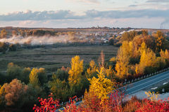 Beautiful view of the road from a height . autumn Stock Photography