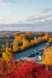 Beautiful view of the road from a height . autumn Stock Photo