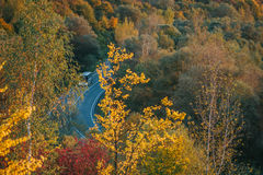 Beautiful view of the road from a height. autumn Royalty Free Stock Photo