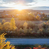 Beautiful view of the road from a height. autumn Stock Photos