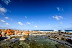Beautiful view of rock pools at the Bosbokduin Nature Reserve in Still Bay, Western Cape Province, South Africa. Royalty Free Stock Photography
