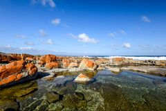 Beautiful view of rock pools at the Bosbokduin Nature Reserve in Still Bay, Western Cape Province, South Africa. Royalty Free Stock Images