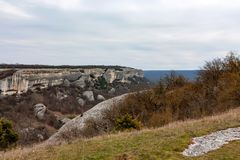 View from Eski-Kermen city in Crimea. Beautiful view with rocks and trees from above the City of Eski-Kermen in Crimea Stock Images