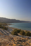 Beautiful view on the rocky Dead sea coast and beach Royalty Free Stock Images