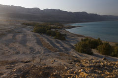 Beautiful view on the rocky Dead sea coast and beach Royalty Free Stock Photography