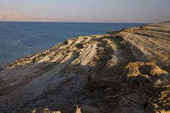 Beautiful view on the rocky Dead sea coast and beach Royalty Free Stock Photo