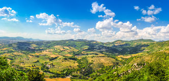 Beautiful view of rolling hills, vineyards and meadows, Umbria, Italy Stock Photography