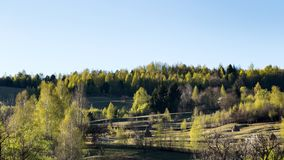 A beautiful view of the Romanian countryside on a warm day of spring royalty free stock images