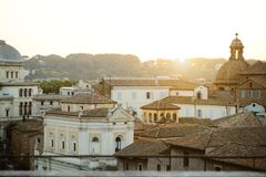 View of Rome from the Campidoglio Stock Photos