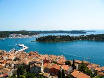 Beautiful view of the roofs and the Bay of Rovinj, Croatia stock photos