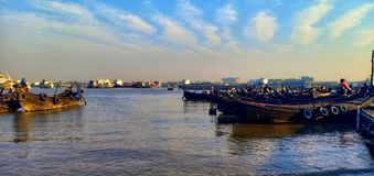 Beautiful View - Row of boats on the bank of Karnaphuli River stock photos