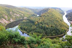 Beautiful view on the Saar river loop in autumn at Mettlach, Germany Royalty Free Stock Photos