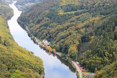 Beautiful view on the Saar river loop in autumn at Mettlach, Germany Stock Images